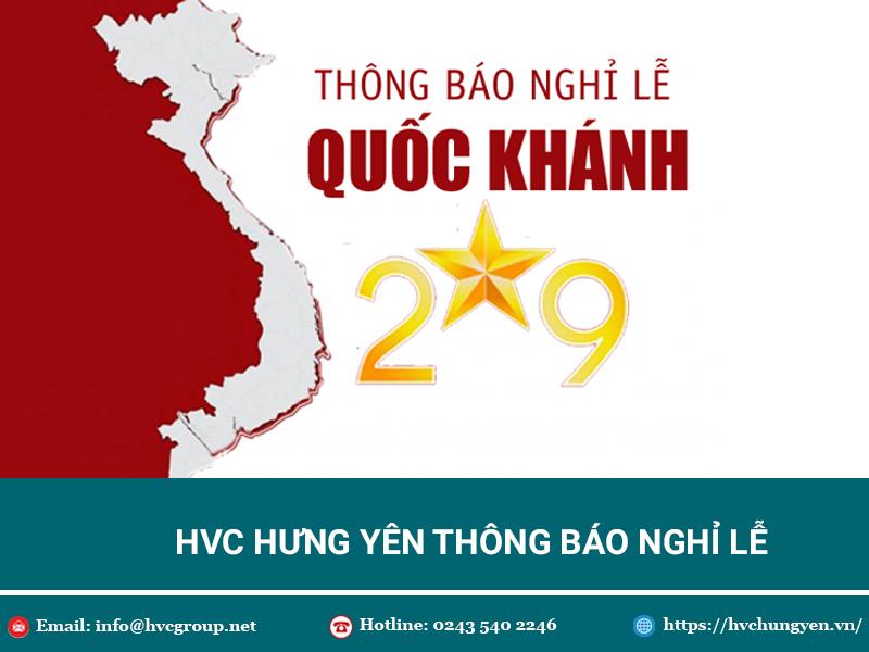HVC Hưng Yên thông báo lịch nghỉ lễ Quốc Khánh 2/9